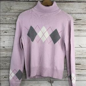 Sonoma Sweater M Turtleneck Argyle Preppy Pink
